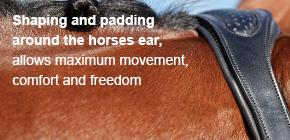Shaping and padding around the horses ear, allows maximum movement, comfort and freedom.