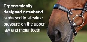 Ergonomically designed noseband is shaped to alleviate pressure on the upper jaw and molar teeth.