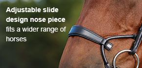 Adjustable slide design nose piece fits a wider range of horses.