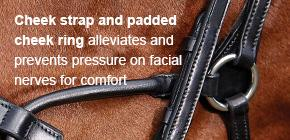 Cheek strap and padded cheek ring alleviates and prevents pressure on facial nerves for comfort.